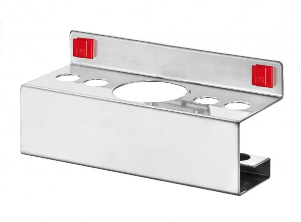 ®RasterPlan/ABAX® Kombihalter für Stifte / Sprühflasche 4 x Durchmesser 17 mm / 1 x Durchmesser 52 mm Alufarben