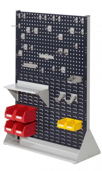 ®RasterPlan Stellwand Gr.4 doppelseitig, H1450 x B1000 x T430 mm, RAL 7035/7016. 1 x Werkzeughaltersortiment 28-teilig, 1 x Stahlboden 450 mm, 2 x Dornträger, 4 x Lagersichtkästen Größe 6, 2 x Lagersichtkästen Größe 7.
