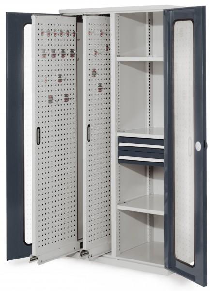 RasterPlan Vertikalschrank Modell 81, 1950 x 1000 x 600 mm, RAL 7035/7016. Sichtfenstertür, 2 Auszüge Lochplatten, 3 Fachböden, 2 Schubladen 100 mm.