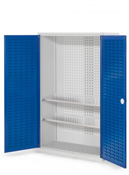 RasterPlan Werkzeugschrank Mod 4 410, H1600 x B1000 x T410 mm, RAL 7035/5010. Türinnenseite: RasterPlan Schlitzplatte, 2 Fachböden.