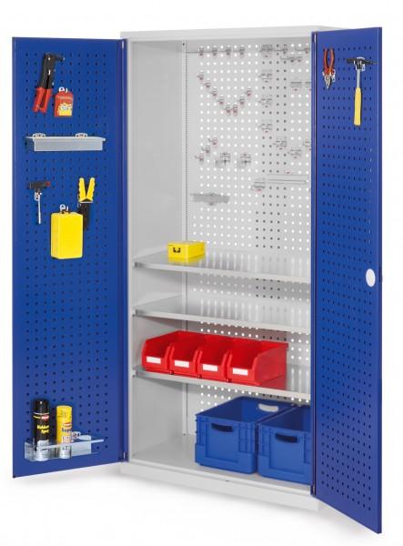 ®RasterPlan Werkzeugschrank Mod 6 500, H1950 x B1000 x T500 mm, RAL 7035/5010. Türinnenseite: ®RasterPlan Lochplatte, 3 Fachböden.