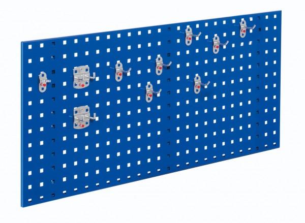 ®RasterPlan Einsteigerset 5 1 x ®RasterPlan Lochplatte RAL 5010 - Enzianblau Breite 1000 mm x Höhe 450 mm 1 x ®RasterPlan Werkzeughalter-Sortiment 10-teilig