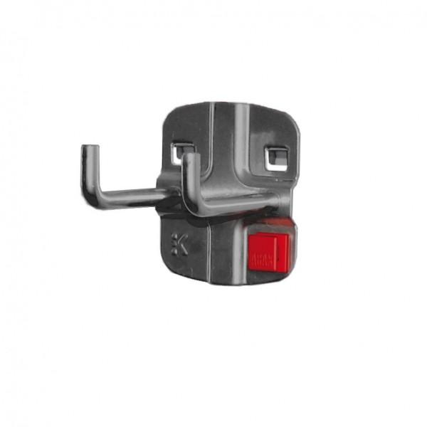 ®RasterPlan/ABAX® Doppelter Werkzeughalter, senkrechtes Hakenende Länge 50 mm Anthrazitgrau