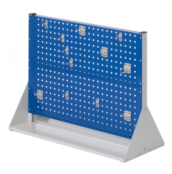 RasterPlan Stellwand Gr.2 doppelseitig, H760 x B1000 x T430 mm, RAL 7035/5010. 1 x Werkzeughaltersortiment 12-teilig.
