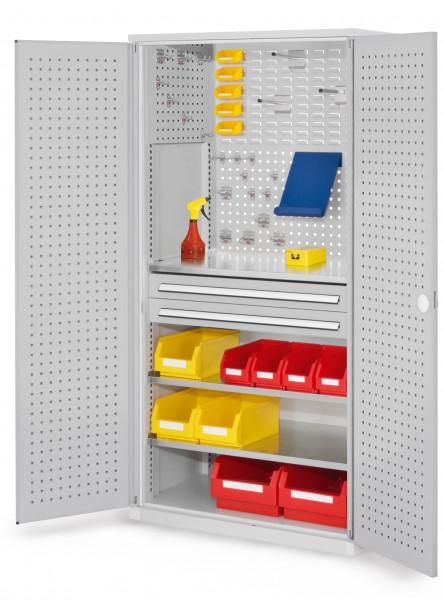 RasterPlan Schubladenschrank, Modell 11, RAL 7035. Türinnenseite: Lochplatten, 1950 x 1000 x 600 mm,, 2 Schubladen H 100 mm, 3 Fachböden verzinkt.