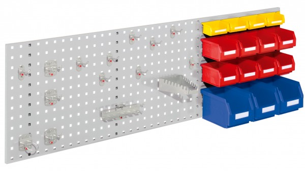 RasterPlan Kombiplatte Set 4, RAL 7035. 2 x Kombiplatte H 450 x B 1500 mm, 3 x Lsk. Gr. 6, 8 x Lsk. Gr. 7, 4 x Lsk. Gr. 8, 1 x Werkzeughaltersortiment 15-teilig.