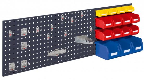 RasterPlan Kombiplatte Set 4, RAL 7016. 1 x Kombiplatte H 450 x B 1500 mm, 3 x Lsk. Gr. 6, 8 x Lsk. Gr. 7, 4 x Lsk. Gr. 8, 1 x Werkzeughaltersort. 15-teilig.