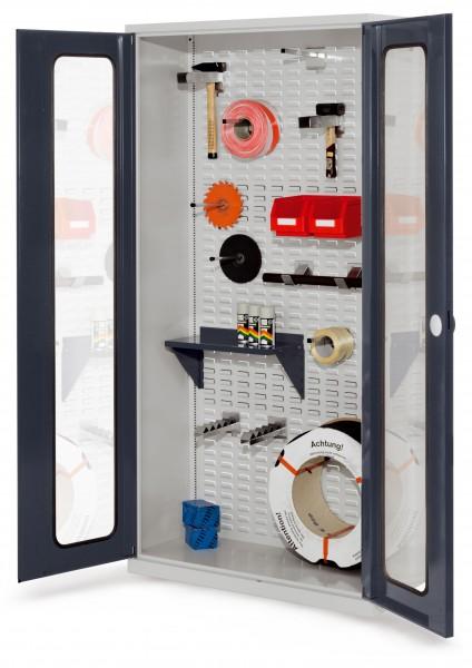 ®RasterPlan Werkstückschrank mit Schlitzplattenrückwand und Sichtfenstertür. RAL7035 / 7016.
