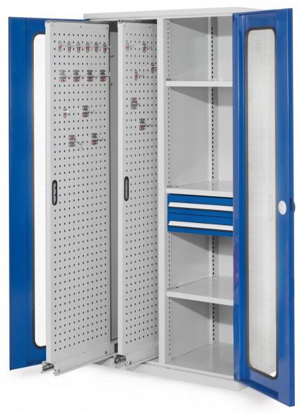 RasterPlan Vertikalschrank Modell 81, 1950 x 1000 x 600 mm, RAL 7035/5010. Sichtfenstertür, 2 Auszüge Lochplatten, 3 Fachböden, 2 Schubladen 100 mm.