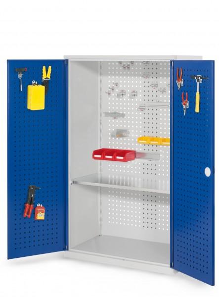 RasterPlan Werkzeugschrank Mod. 3 500, H1600 x B1000 x T500 mm, RAL 7035/5010. Türinnenseite: RasterPlan Lochplatten,, 1 Fachboden.