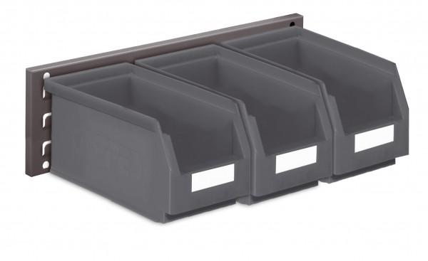 ®RasterPlan Wandschiene Schlitzplatte Set 10, L 460 mm, x H 140 mm, RAL 7016. 3 x Lagersichtkästen Größe 5.