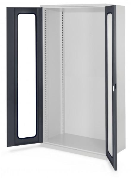 Schwerlastschrank Leergehäuse/Mod 40, 1950 x 1000 x 600 mm, RAL 7035/7016. Ohne Mitteltrennwand, Sichtfenstertüren.
