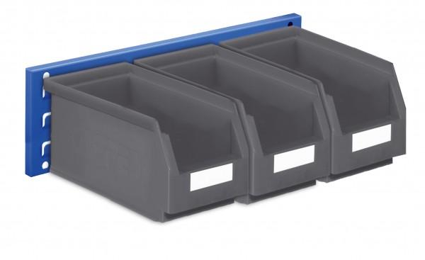 ®RasterPlan Wandschiene Schlitzplatte Set 10, L 460 mm, x H 140 mm, RAL 5010. 3 x Lagersichtkästen Größe 5.