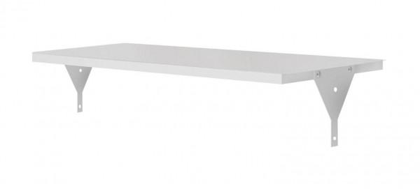 Ablageboden RAL 7035, 995 x 500 x 30 mm, mit Winkel.