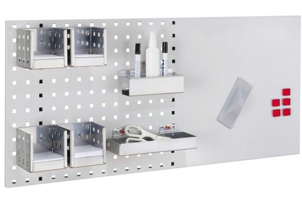 LogoChart Office Set 3, RAL 7035. 1 LogoChart®, RAL 7035, 4 Zettelboxen, 1 Ablagebox, 1 Kombi Stifthalter, 5 Magnete, 1 Wischer (magnetisch), 1 Reinigungsspray, 2 Non-Permanent-Stifte (schwarz).