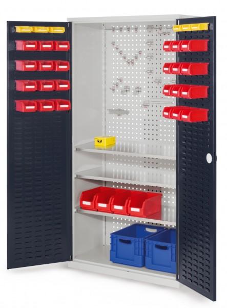 RasterPlan Werkzeugschrank Mod 6 500, H1950 x B1000 x T500 mm, RAL 7035/7016. Türinnenseite: RasterPlan Schlitzplatte, 3 Fachböden.