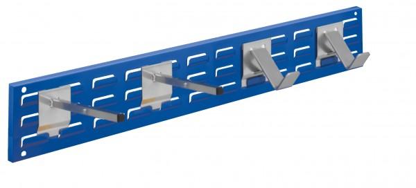 ®RasterPlan Wandschiene Schlitzplatte Set 9, L 920 mm, x H 140 mm, RAL 5010. 2 x Universalhalter, 2 x Dornträger.