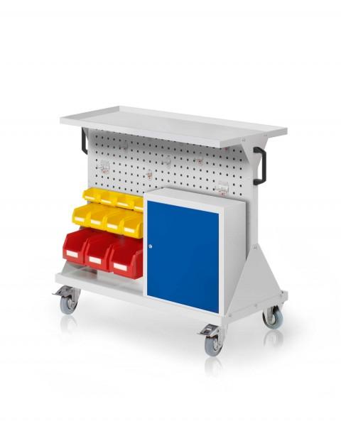 RasterMobil Gr. 2 RAL 7035, H 930 x B 1000 x T 500 mm. 1 x Auflageboden aus Stahlblech, 1 x Werkzeughaltersort. 10-teilig, 1 x Einhängeschrank, 3 x Lsk. Gr. 6, 4 x Lsk. Gr. 7, 4 x Lsk. Gr. 8.