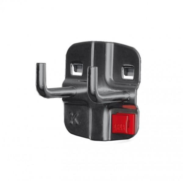 RasterPlan/ABAX Doppelter Werkzeughalter, L 35 mm, senkrechtes Hakenende anthrazitgrau.