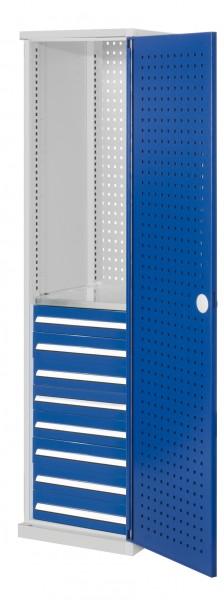 ®RasterPlan Schubladenschrank schmal Mod 6, 1950 x 600 x 600 mm, 7035/5010, Lochplattentür. 1 Fachboden verzinkt, 8 Schubladen 125 mm.