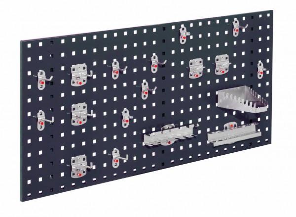 ®RasterPlan Einsteigerset 6 1 x ®RasterPlan Lochplatte RAL 7016 - Anthrazitgrau Breite 1000 mm x Höhe 450 mm 1 x ®RasterPlan Werkzeughalter-Sortiment 18-teilig