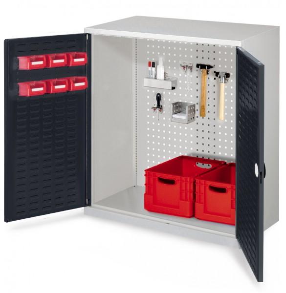 RasterPlan Werkzeugschrank Mod 1 500, H1000 x B1000 x T500 mm, RAL 7035/ 7016. Türinnenseite: RasterPlan Schlitzplatte.