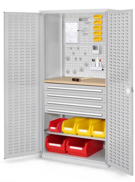 ®RasterPlan Schubladenschrank, Modell 26, RAL 7035. Türinnenseite: Schlitzplatten 1950 x 1000 x 600 mm, 4 Schubladen H 100 mm, 1 Fachboden verzinkt, 1 Werkbankplatte Multiplex.