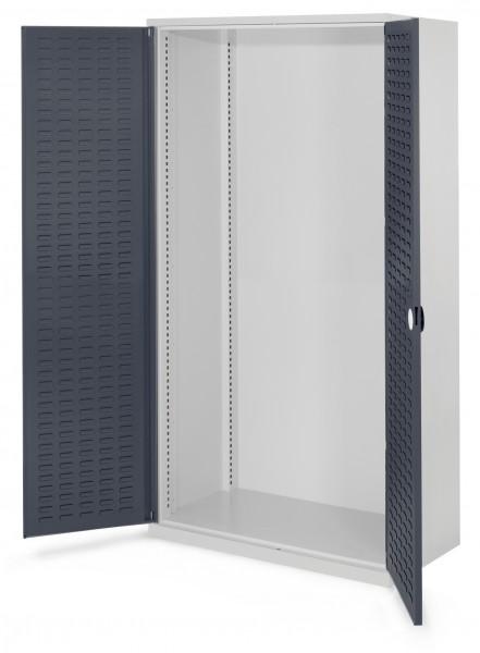 Schwerlastschrank Leergehäuse/Mod 40, 1950 x 1000 x 600 mm, RAL 7035/7016. Ohne Mitteltrennwand, Türinnenseite: RasterPlan Schlitzplatte.