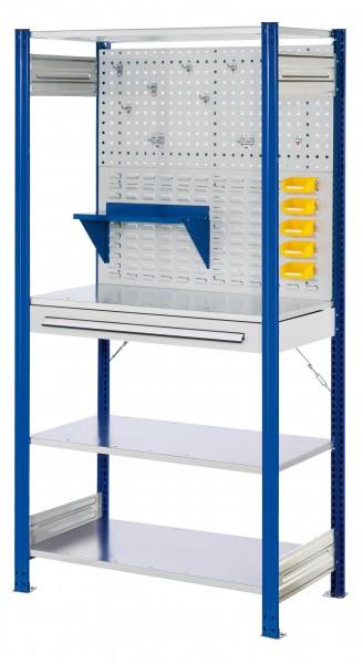 RasterPlan Steckregal Grundfeld RAL 5010 Modell 5, 2000 x 1000 x 500 mm. Grundfeld mi t4 x Fachboden 500 mm, 1 x Rückwand Lochplatte B 1000 mm, 1 x Rückwand Schlitzplatte B 1000 mm, 1 x Schubladenblock einfach, 1 x Werkzeughaltersort. 10-teilig