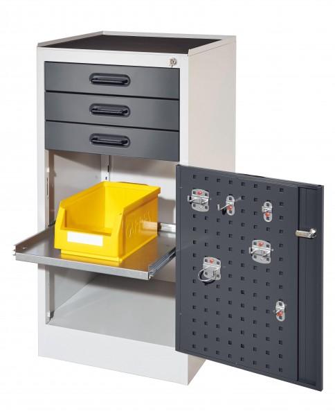 RasterPlan Arbeitsplatzschrank Modell 2S, H 1000 x B 500 x T 500 mm Türinnenseite: RasterPlan Lochplatte, RAL 7035/7016, 3 Schubladen, 1 ausziehbarer Fachboden.