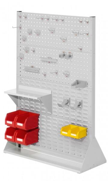 RasterPlan Stellwand Gr.4 doppelseitig, H1450 x B1000 x T430 mm, RAL 7035. 1 x Werkzeughaltersortiment 28-teilig, 1 x Stahlboden 450 mm, 2 x Dornträger, 4 x Lsk. Gr. 6, 2 x Lsk. Gr. 7.