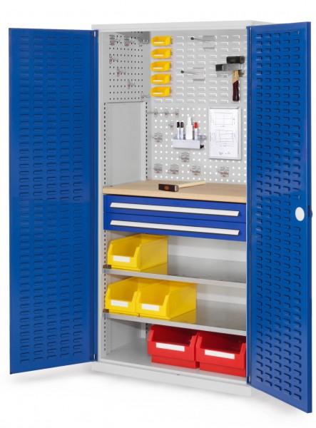 RasterPlan Schubladenschrank, Modell 24, RAL 7035/5010. Türinnenseite: Schlitzplatten 1950 x 1000 x 600 mm, 2 Schubladen H 100 mm, 2 Fachboden verzinkt, 1 Werkbankplatte Multiplex.