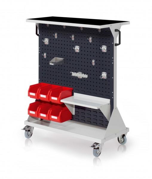 RasterMobil Gr. 3 RAL 7035/7016, H1270 x B1000 x T500 mm. 1 x Auflageboden aus Stahlblech inkl. Riffelgummimatte, 1 x Werkzeughaltersort. 15-teilig, 1 x Stahlboden 450 mm, 6 x Lagersichtkästen Größe 6.