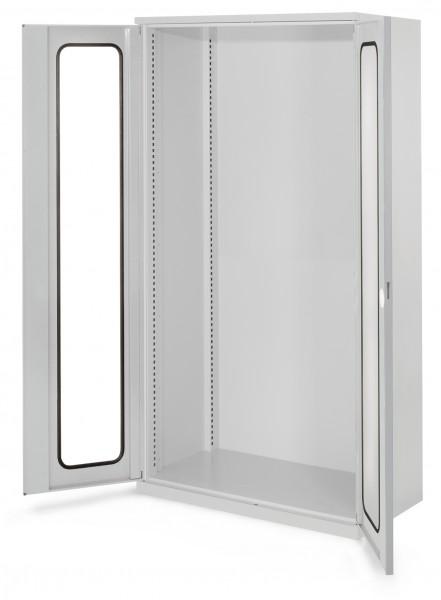 Schwerlastschrank Leergehäuse/Mod 40, 1950 x 1000 x 600 mm, RAL 7035. Ohne Mitteltrennwand, Sichtfenstertüren.