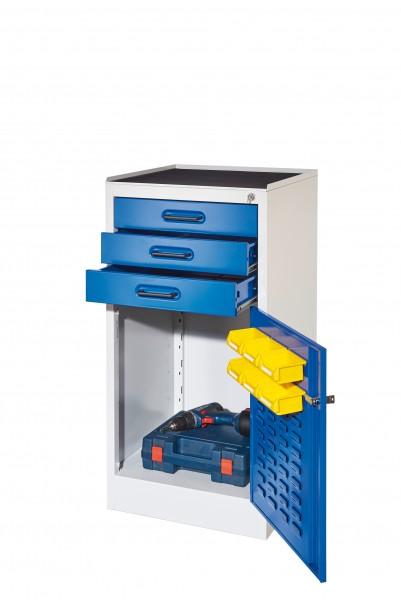 ®RasterPlan Arbeitsplatzschrank Modell 2, Innentür ®RasterPlan Lochplatte. RAL 7035/5010, 3 Schubladen, 1 Boden.