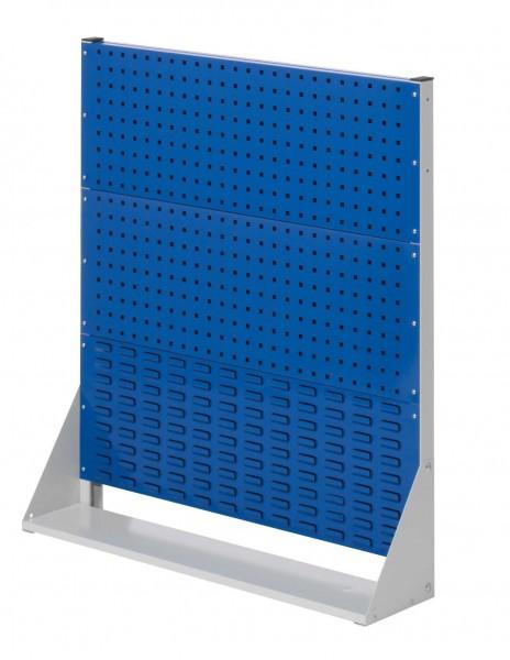 RasterPlan Stellwand Gr.3 einseitig, H1100 x B1000 x T240 mm, RAL 7035/5010. 2 Lochplatten, 1 Schlitzplatten.