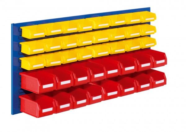 ®RasterPlan Schlitzplatten Einsteigerset 12, RAL 5010. 1 x Schlitzplatte H 450 x B 1000 mm,16 x Lagersichtkästen Größe 7, 24 x Lagersichtkästen Größe 8.