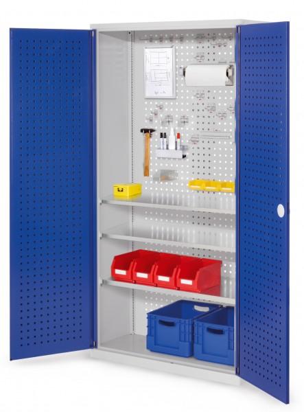 ®RasterPlan Werkzeugschrank Mod 6 410, H1950 x B1000 x T410 mm, RAL 7035/5010. Türinnenseite: ®RasterPlan Lochplatte, 3 Fachböden.