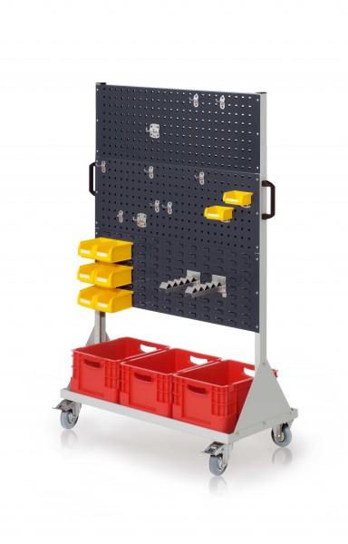 RasterMobil Gr. 4 RAL 7035/7016, H1580 x B1000 x T500 mm. 1 x Werkzeughaltersort. 10-teilig, 2 x Lagersichtkastenhalter, 2 x Wellenträger, 6 x Lsk. Gr. 7, 2 x Lsk. Gr. 8, 3 x Transportbehälter 400 x 300 x H 220 mm.