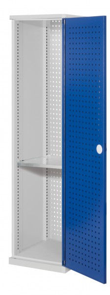 ®RasterPlan Schubladenschrank schmal Mod 2, 1950 x 600 x 600 mm, 7035/5010, Lochplattentür. 1 Fachboden verzinkt.