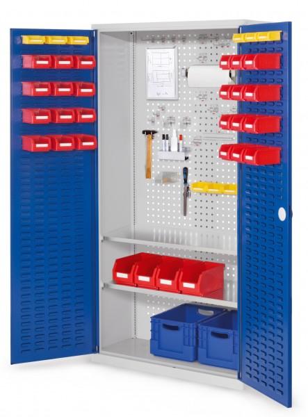 ®RasterPlan Werkzeugschrank Mod 5 410, H1950 x B1000 x T410 mm, RAL 7035/5010. Türinnenseite: ®RasterPlan Schlitzplatten-, 2 Fachböden.